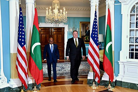 US Secretary of State Mike Pompeo hosts Maldivian foreign minister Abdulla Shahid Secretary Pompeo Meets With Maldives Foreign Minister Shahid in Washington (32217203777).jpg