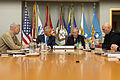 """Secretary of Defense Chuck Hagel, second from left, attends a meeting in the """"Tank"""" with Chairman of the Joint Chiefs of Staff Gen. Martin E. Dempsey, second from right, and members of the Joint Chiefs of Staff 130301-D-V0565-004.jpg"""