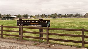 Leo Magnus Cricket Complex - Sign welcoming visitors to the Sepulveda Basin-Cricket Fields/Leo Magnus Cricket Complex