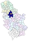 An image showing the location of Belgrade in Serbia