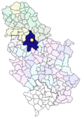 Location of Belgrade within Serbia