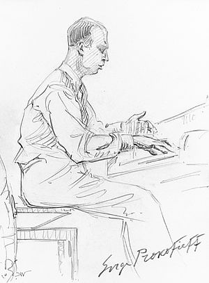 English: Sergei Prokofiev playing his 3d Piano...