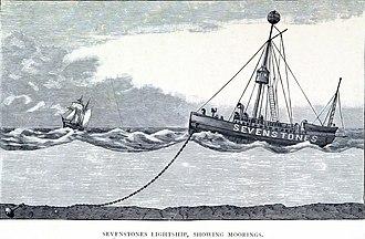 Sevenstones Lightship - Sevenstones Lightship, showing moorings