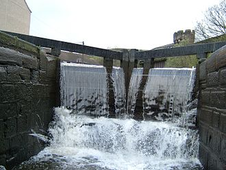 Rochdale Canal - A lock on the Rochdale Canal with water flowing over the gate