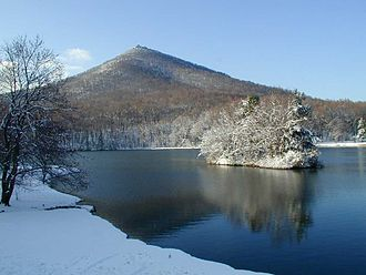 Peaks of Otter - Abbot Lake and Sharp Top in winter