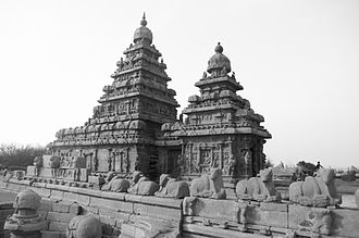 Pallava dynasty - The Shore Temple at Mahabalipuram built by Narasimhavarman II