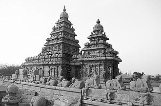 Pallava dynasty - The Shore Temple at Mahabalipuram built by Narasimhavarman II