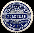 Siegelmarke Gemeindeamt Polehrad Bezirkshauptmannschaft Brüx W0309754.jpg