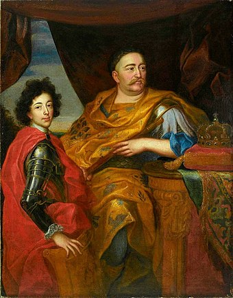 King John III Sobieski with his son Jakub, whom he tried to position to be his successor. Sobieski led the Commonwealth to its last great military victories. Siemiginowski John III Sobieski with his son.jpg