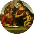 Signorelli, sacra famiglia con una santa, palatina, diam. 99 cm.jpg