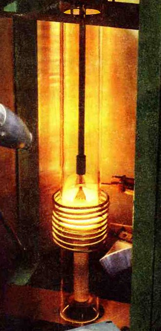 Induction heating - Image: Silicon grown by Czochralski process 1956 closeup