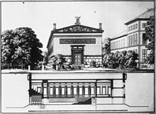 Schinkels nicht verwirklichter erster Entwurf der Sing-Akademie, 1821 (Quelle: Wikimedia)