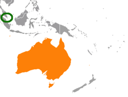 Map indicating locations of Singapore and Australia
