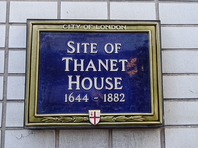 Thanet House blue plaque - Site of Thanet House 1644-1882