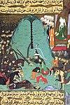 Islamens profet Muhammad (570-632), med maskeret ansigt, ved slaget ved Badr (624 er.   Kr.),   i afbildning fra det ottomanske manuskript Siyer-i Nebi (cirka 1388).
