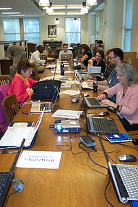 Edit-a-thon in progress at the Smithsonian Libraries