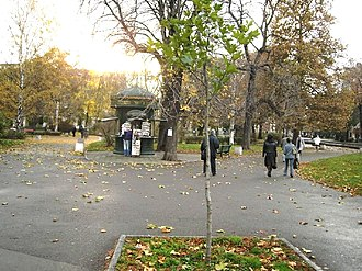 City Garden (Sofia) - View of the city garden in the morning with an Art Nouveau kiosk selling foreign press in the centre