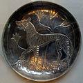 Sogdiana, piatto con tigre, argento dorato e niellato, VII-VIII sec.JPG
