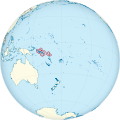 Solomon Islands on the globe (small islands magnified) (Polynesia centered).svg