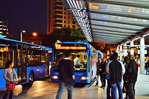 Solomos Bus Station by night Nicosia Republic of Cyprus