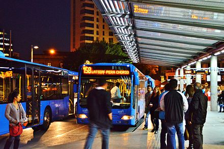 Public buses in Solomos Square Solomos Bus Station by night Nicosia Republic of Cyprus.jpg