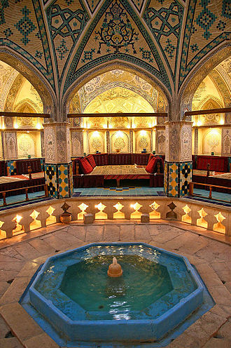 Turkish bath - Sultan Amir Ahmad Bathhouse, constructed in 16th century Iran. Part of the bathhouse is being used as a tea house.