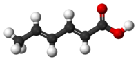 Sorbic acid (ball-and-stick model)