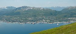 View of Sortland from Strandheia mountain.
