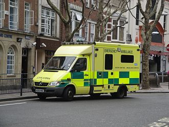South Central Ambulance Service -  A SCAS Mercedes-Benz Sprinter ambulance in Guildhall Walk, Portsmouth, Hampshire.