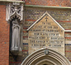 St Alban's Church, Holborn - West door inscription