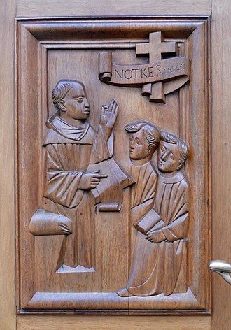 Notker Labeo - Notker Labeo, relief at the Abbey of St Gall.