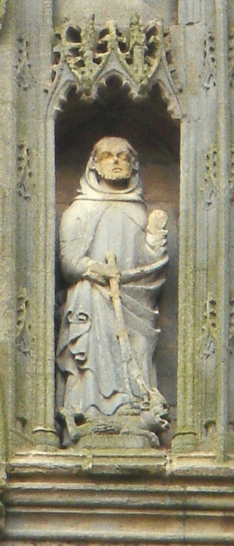 Guthlac of Crowland - St Guthlac holding the scourge given to him by St Bartholomew, with a demon lying at his feet. A 15th-century statue from the second tier of the ruined nave of Croyland Abbey