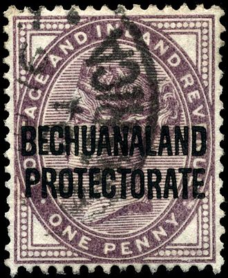 Postage stamps and postal history of Bechuanaland Protectorate - 1897 overprint.