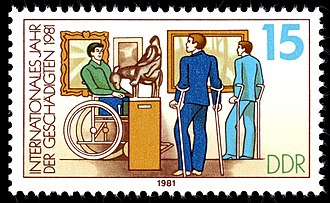 Accessible tourism - An East German stamp showing disabled persons in a museum