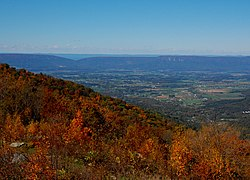Distant view from the Fisher's Gap overlook on Skyline Drive