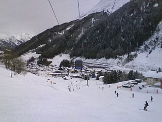St Anton am Arlberg - St. Anton seen from the main piste into the centre of town.