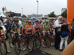 2013 Holland Ladies Tour - Start of stage 5: Trixi Worrack (orange jersey), Ellen van Dijk (red/white jersey) and Kirsten Wild (green jersey)