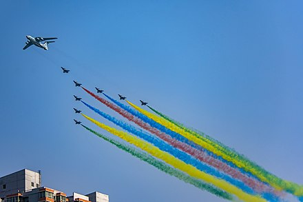 KJ-2000 and J-10s started the flypast formation on the 70th anniversary of the People's Republic of China. Starting aerial formation of PRC70 Parade (20191001112401).jpg