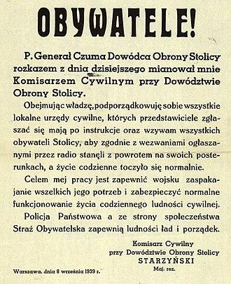 Stefan Starzyński - Public proclamation  of Stefan Starzyński as the Civilian Commissar of Warsaw 8.09.1939