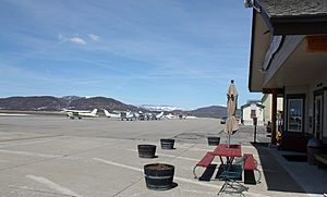 Steamboat Springs Airport - The runway and associated buildings in 2014.