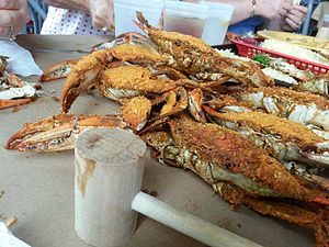 Culture of Baltimore - Marylanders steam blue crabs, usually in water, beer and Old Bay Seasoning.