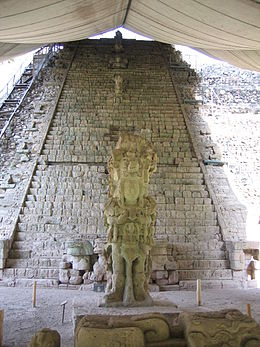 Stela M and the Hieroglyphic Stairway on the archeological site of Copán, a mayan city.jpg