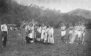 Eastern Band of Cherokee Indians - A stickball dance on the Qualla Boundary. 1897.
