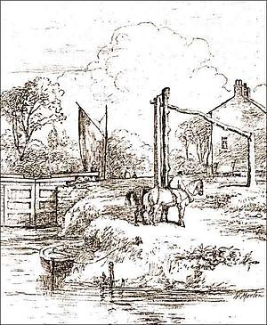Mersey and Irwell Navigation - Stickings Lock on the river Irwell, c. 1850