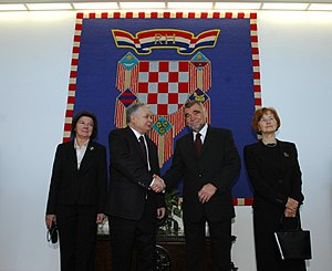 Stjepan Mesić -  President Mesić and First Lady Milka Mesić with Polish President Lech Kaczynski and his wife Maria Kaczyńska at the Presidential Palace in Zagreb in 2008.