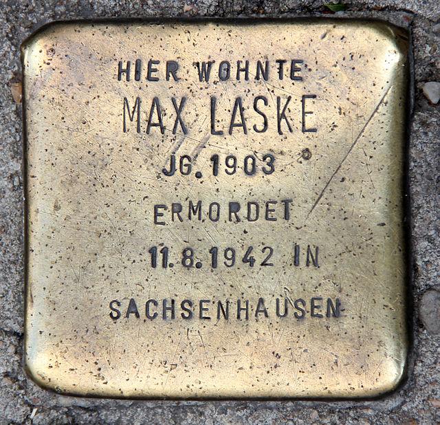 Photo of Max Laske brass plaque