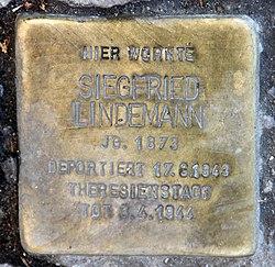 Photo of Siegfried Lindemann brass plaque