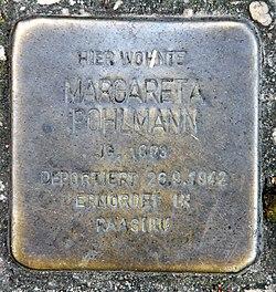 Photo of Margarete Pohlmann brass plaque