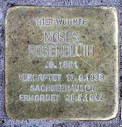 Photo of Moses Rosenblüth brass plaque