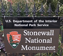 Stonewall National Monument sign